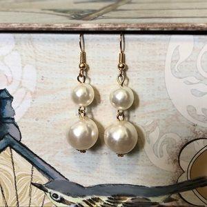 Jewelry - Faux pearl ball drop earrings gold Jewelry bride